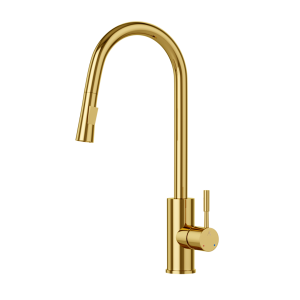 FLO2 Single Lever Pulldown Sink Mixer-Full Gold