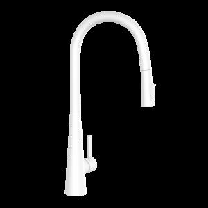 FLO2 Single Lever Pulldown Conical Sink Mixer-White Matt