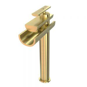 Single Lever High Neck Basin Mixer-Gold Dust