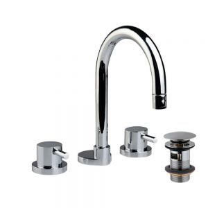 3 Hole Basin Mixer with Curved Spout