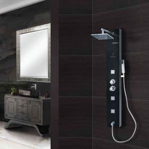 Shower Panel Black with button spout