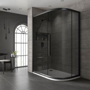 One Door Offset Quadrant Black Frame Black Glass 800x900mm