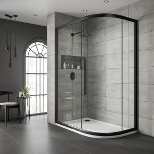 One Door Offset Quadrant Clear Glass 800x900mm