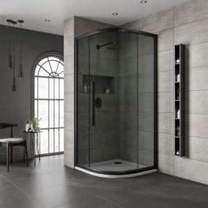 One Door Quadrant Black Frame Black Glass 800x800mm
