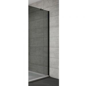 Side Panel For Hinge & Inswing Door Black Frame Black Glass 700mm