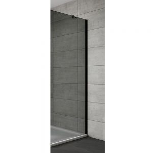 Side Panel For Sliding Door Black Frame Black Glass 760mm