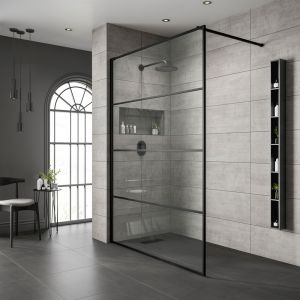 Black Frame Wetroom Shower Screen