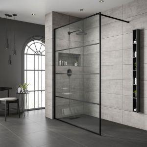 Black Frame Wetroom Shower Screen 900mm