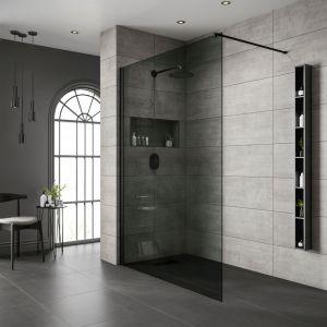 Free Standing Bathscreen-Black Frame | Black Glass-800