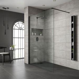 Free Standing Bathscreen-Black Frame | Clear Glass-800