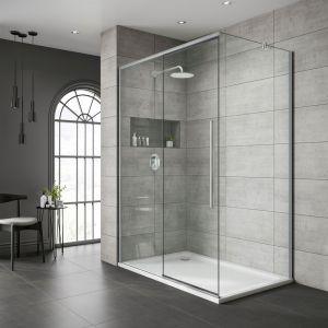 Sliding Door Right Version-Chrome Frame | Clear Glass-1000