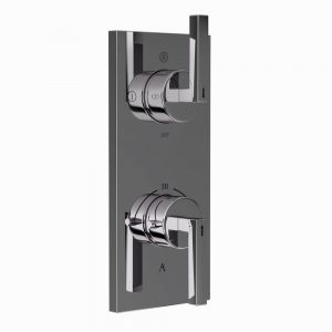 Linea In-Wall Thermostatic Shower Valve with 3-Way Diverter-Black Chrome