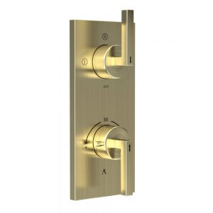 Linea In-Wall Thermostatic Shower Valve with 3-Way Diverter-Gold Dust