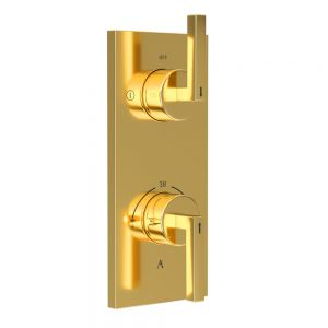 In-wall Thermostatic Shower Valve with 2-Way Diverter-Full Gold