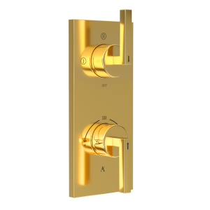 Linea In-Wall Thermostatic Shower Valve with 3-Way Diverter-Full Gold