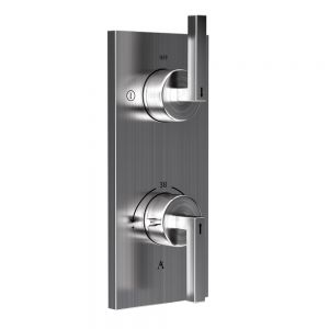 In-wall Thermostatic Shower Valve with 2-Way Diverter-Stainless Steel