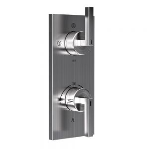Linea In-Wall Thermostatic Shower Valve with 3-Way Diverter-Stainless Steel