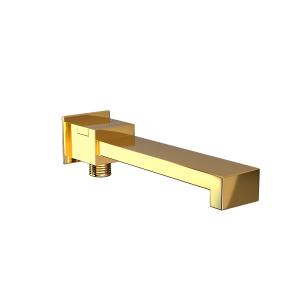 Bath Spout with Diverter & Wall Flange-Full Gold